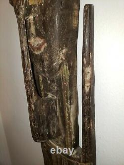 Very Large Papua New Guinea Oceanic Ancestor Hook Statue 39 Inches Tall