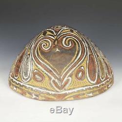 Vintage Kamana Or Sago Bowl Incised Pottery Sawos People Papua New Guinea