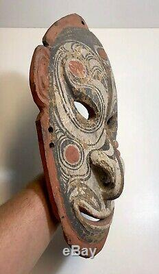 Vintage Old Hardwood Png Mask Carving Papua New Guinea Natural Ochres Tribal Mel