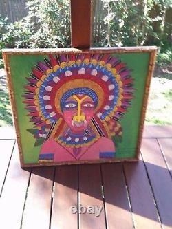 Vintage Original-Vibrant-Papua-New-Guinea-Tribal Het man Faux Bamboo WOODFrame