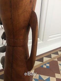 Vintage Papua New Guinea Kundu Drum Seed Rattles Snake Lizard Skin