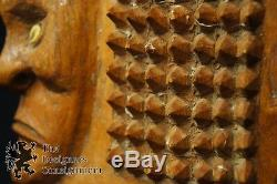 Vintage Papua New Guinea Tribal Hand Carved Mask Primitive Cowrie Shell Eyes 18