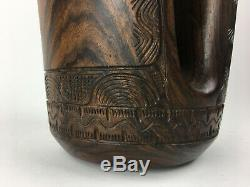 Vintage Tiheru Tata Oceanic Exotic Wood Carved Maori Canoe Bailer