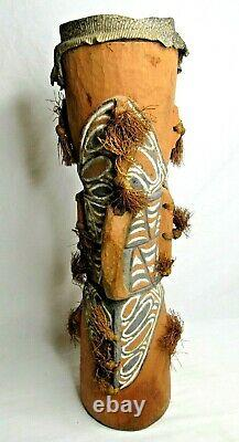Wood Drum Lizard Skin Carved Painted Grass Papua New Guinea 24 Vintage Rare
